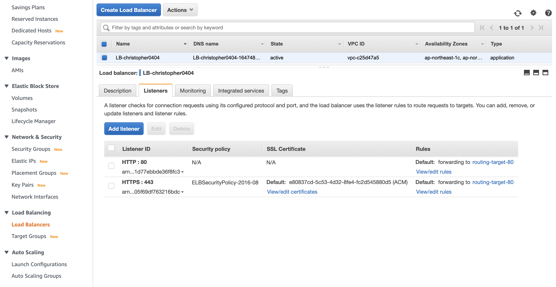 Load Balancer with an HTTPS Listener