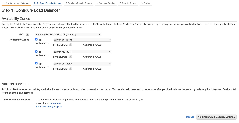 Step 1: Configure Load Balancer - Availability Zones