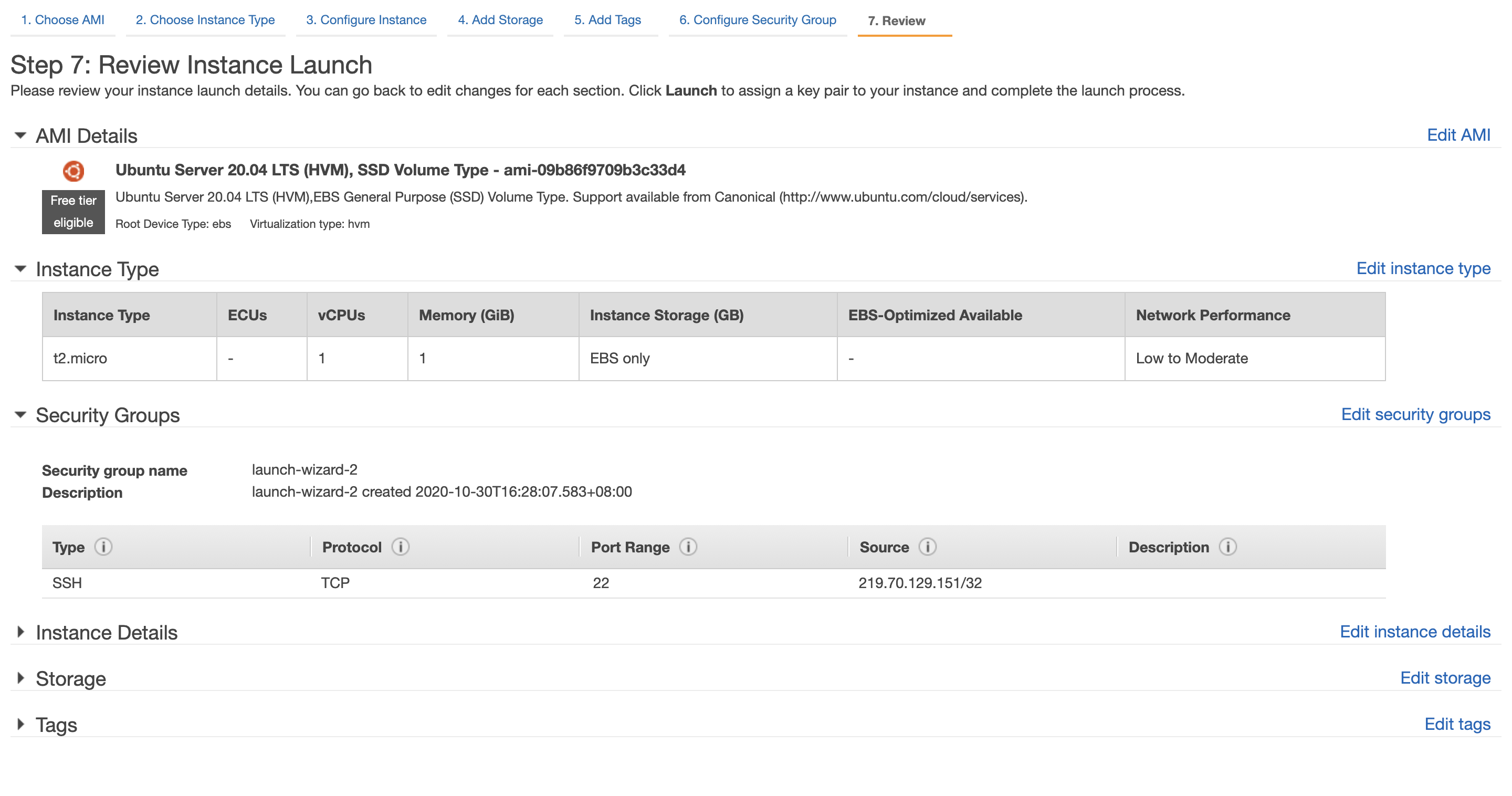 Step 7: Review Instance Launch