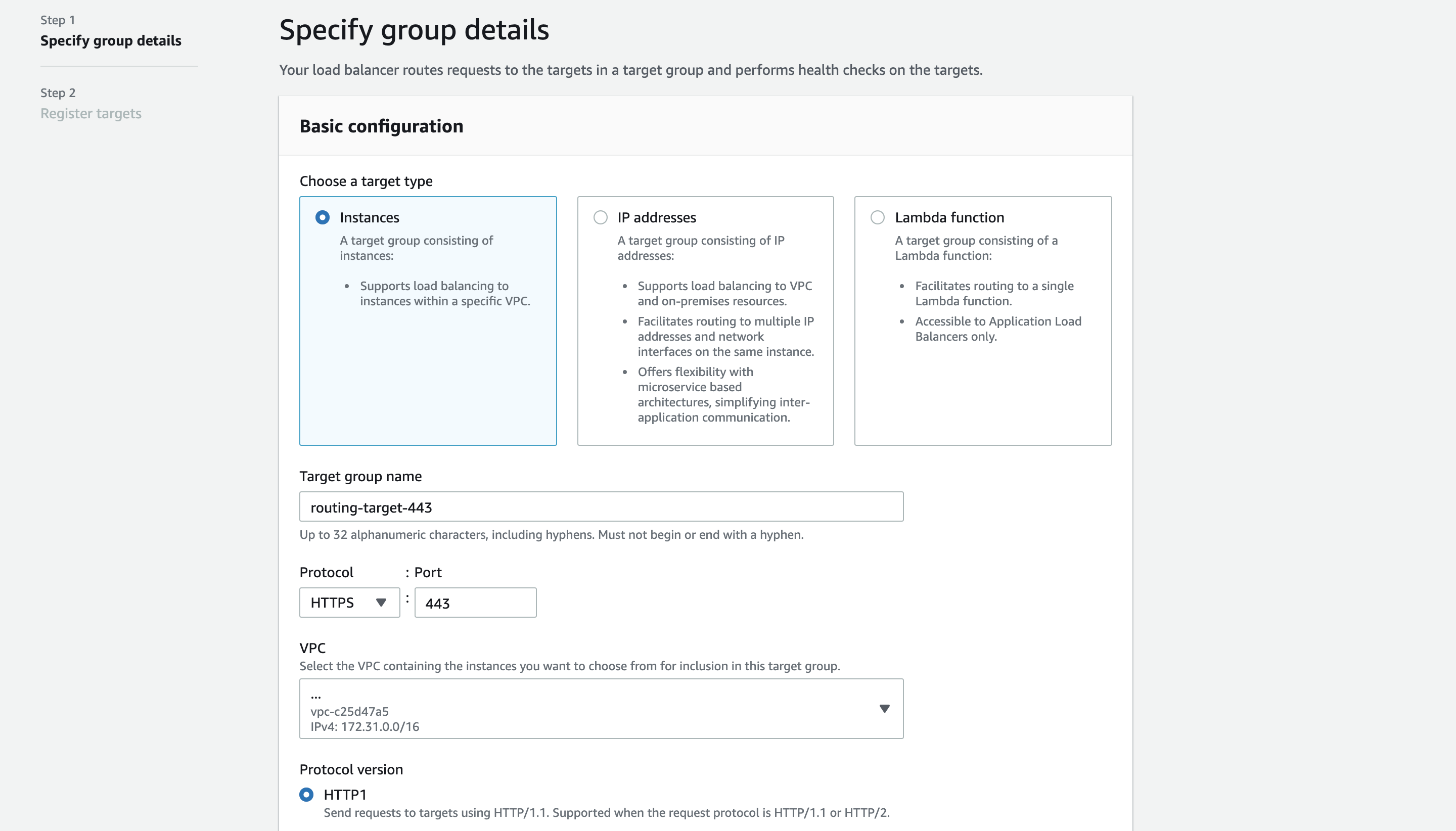 Specify group details